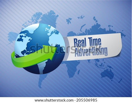 real time advertising globe sign illustration design over a blue background