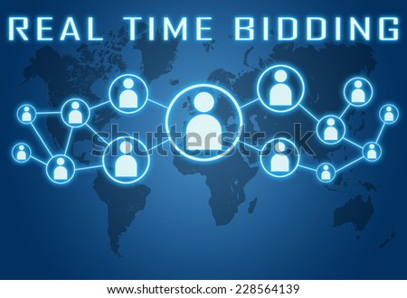 Real Time Bidding concept on blue background with world map and social icons. - stock photo