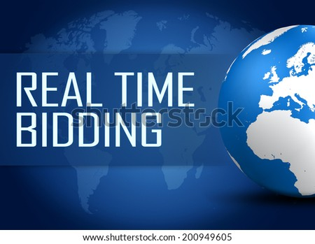 Real Time Bidding concept with globe on blue background - stock photo