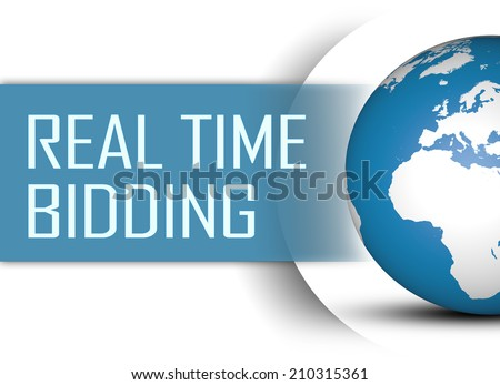 Real Time Bidding concept with globe on white background - stock photo
