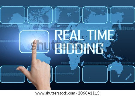 Real Time Bidding concept with interface and world map on blue background - stock photo
