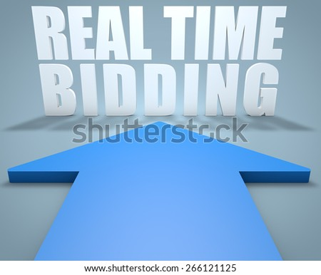 Real Time Bidding - 3d render concept of blue arrow pointing to text.