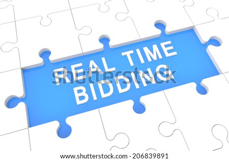 Real Time Bidding - puzzle 3d render illustration with word on blue background - stock photo