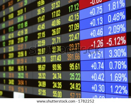 Real time quotes at the stock exchange. - stock photo