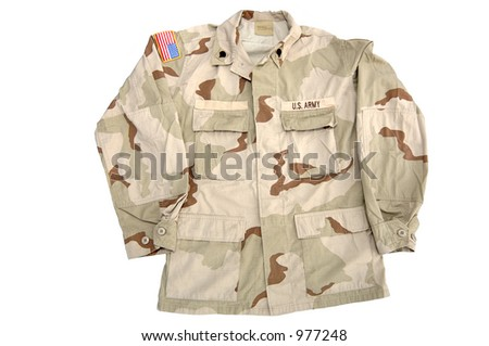 Real U.S. Army shirt. This is the camouflage pattern worn in the desert. This served in Iraq. Rank = Specialist. - stock photo