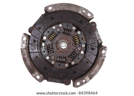 real used car clutch isolated over white background - stock photo