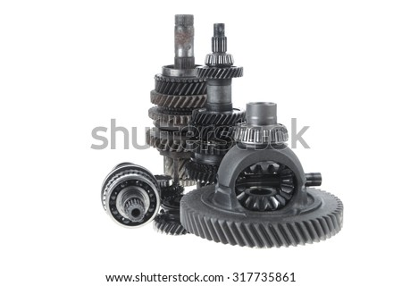 real used motor steel gear transmission parts isolated on white background - stock photo