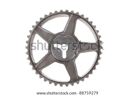 real used stainless steel car gears isolated over white background - stock photo