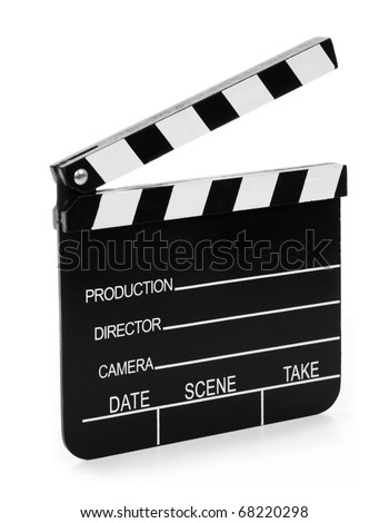 Real Vintage Wooden Film Slate isolated on white background. - stock photo