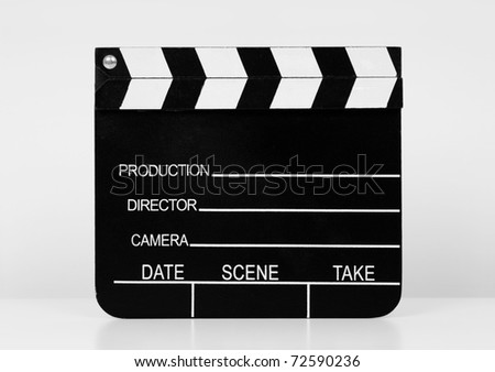 Real Vintage Wooden Film Slate on white background.
