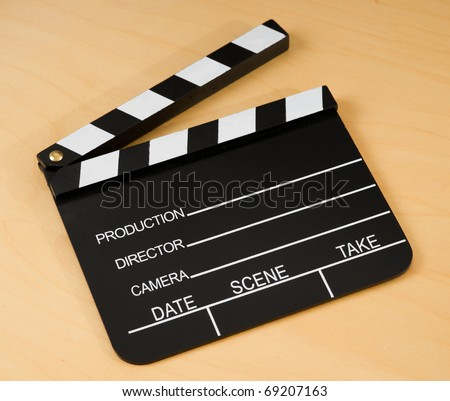 Real Vintage Wooden Film Slate  wooden table. - stock photo