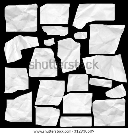 real white paper scraps isolated on black background, big set - stock photo