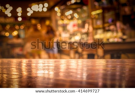 Real Wood Table Light Reflection On Stock Photo 414699727