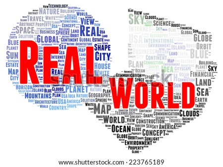 Real world word cloud shape concept - stock photo