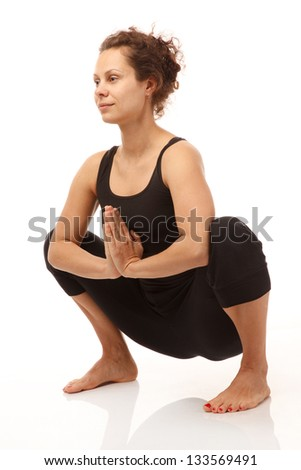 Real yoga instructor doing yoga pose