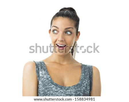 real young woman expression - stock photo