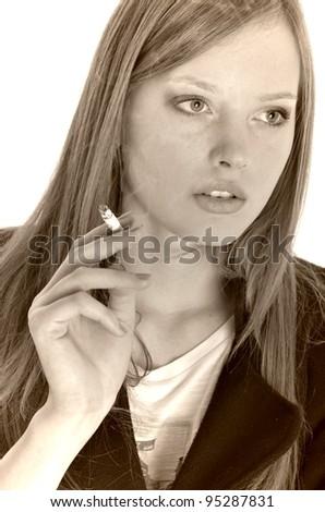 real young woman smokes - stock photo