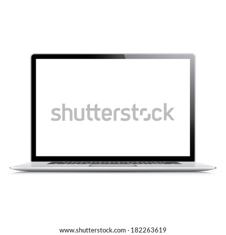 Realistic and very detailed laptop isolated on white (jpg version) - stock photo