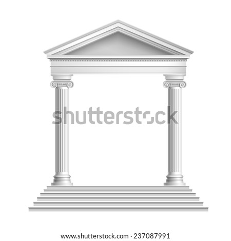 Realistic antique marble temple front with ionic columns isolated on white background  illustration - stock photo
