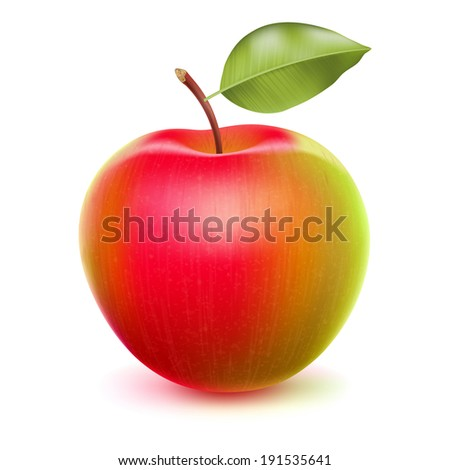 Realistic apple with green and red sides. Raster version. - stock photo