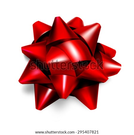 Realistic beautiful red bow - stock photo