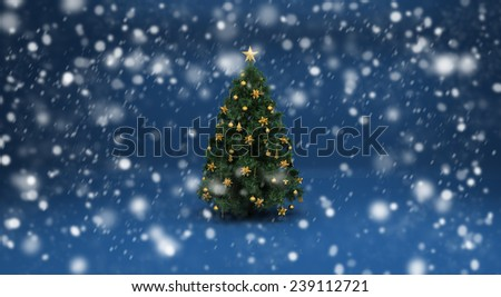 Realistic beautiful snow on a blue background with Christmas tree. Design elements for holiday cards - stock photo