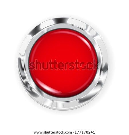 Realistic big red button with metallic border. Raster version. - stock photo