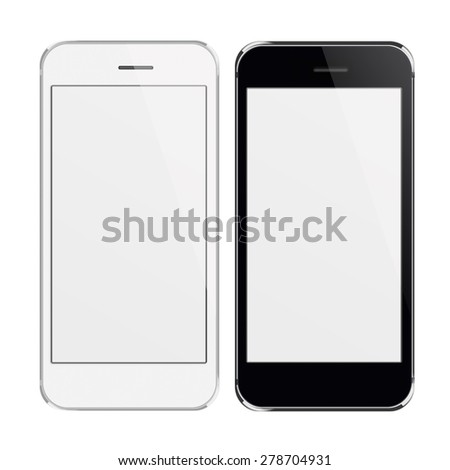 Realistic black and white mobile phones iphon style mockup with blank screen isolated on white background. Highly detailed illustration.