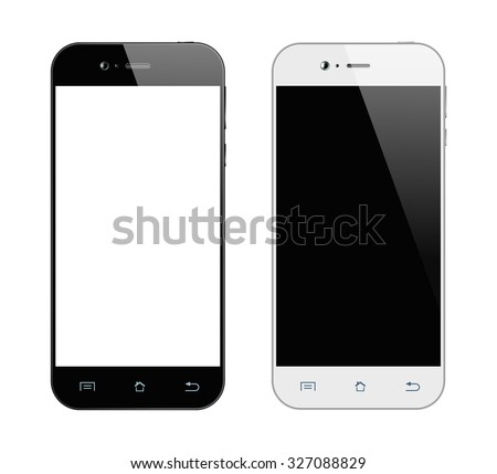 Realistic black and white smartphone. Mobile phone isolated on white background. - stock photo