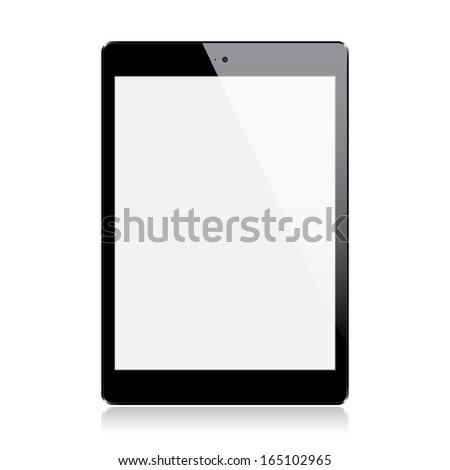 Realistic black mini tablet isolated on white background (raster illustration) - stock photo