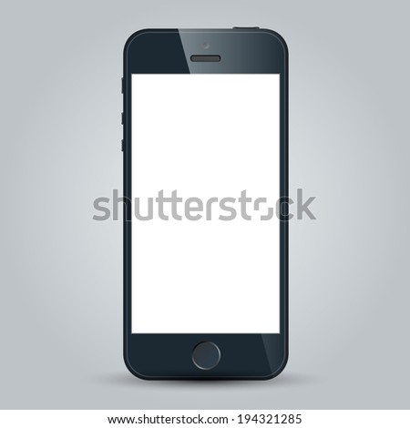Realistic black mobile phone with blank screen in similar to iphone style isolated on white.