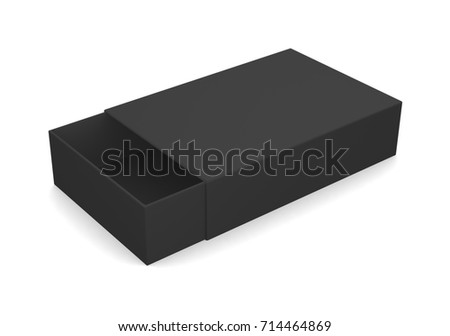 Realistic black open box isolated on white background. 3d illustration