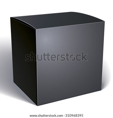 Realistic black package box for products, put your design over the pack, isolated on white background
