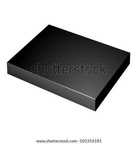 Realistic Black Package slim Cardboard Box. For any product.  illustration