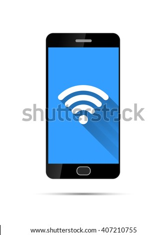 Realistic black smartphone with wifi icon on blue background, isolated on white - stock photo