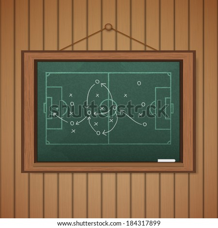 Realistic blackboard on wooden background drawing a soccer game strategy.
