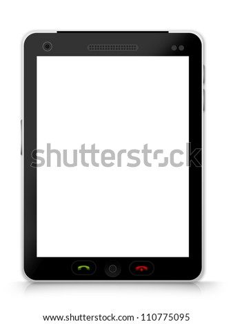 Realistic Blank Black Tablet PC Isolate on White Background - stock photo