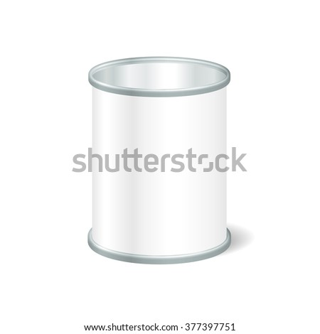 Realistic Blank Open Tin For Canned Food, Preserve, Conserve. Mock Up To Advertise Goods. Packaging Template - stock photo