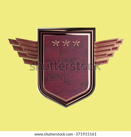 Realistic blank shield with three stars and stylized wings, hight quality 3d rendering, isolated. Logo, badge, achievement, sign, design element. - stock photo