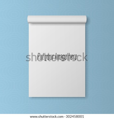 Realistic blank Template of open Notepad with bend Page - stock photo