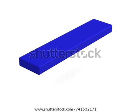 Realistic blue blank box isolated on white background. 3d illustration