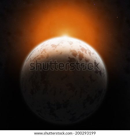Realistic blue planet against the starry sky. Elements of this image furnished by NASA. - stock photo