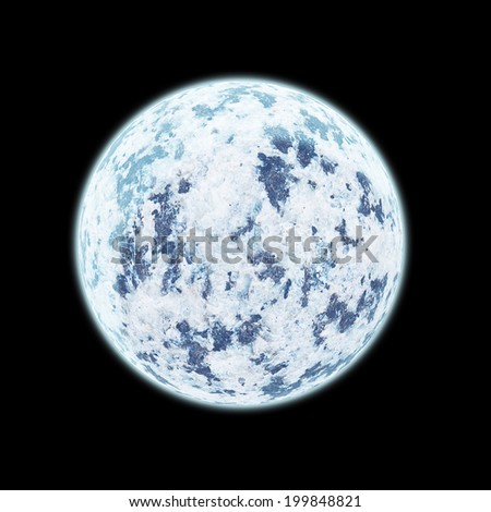 Realistic blue planet isolated on black background. Elements of this image furnished by NASA. - stock photo