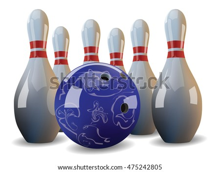 Realistic bowling ball and six pins