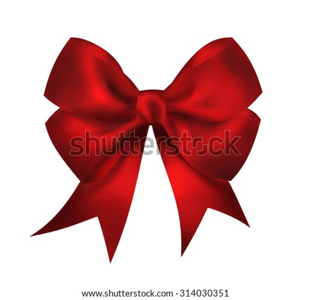 Realistic bright red bow isolated on white background. Closeup illustration