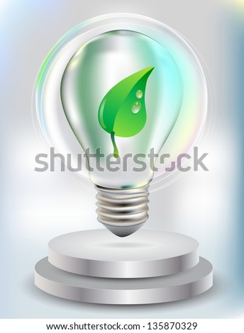 Realistic Bulb with green leaf for eco Design