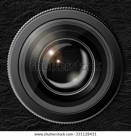 Realistic camera lens with the shutter closed in the background texture of the skin. Rasterized version. - stock photo