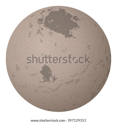 Realistic Charon, Moon of Dwarf Planet Pluto Isolated on White Background. Elements of This Image Furnished by NASA, Solarsystem.Nasa.Gov