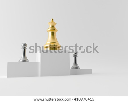 Realistic chess figures made in 3d in silver and gold - stock photo