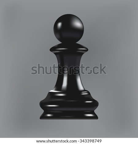 Realistic chess pawn isolated on gray background - stock photo